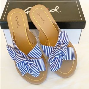 Blue and White Striped Sandals with Bow CCO SALE